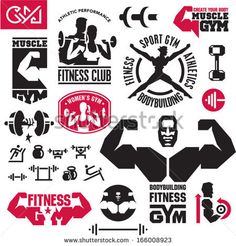 Fitness gym icons - stock vector