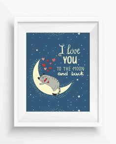 I Love You to the moon and back ,cute cat and moon,baby rooms,Nursery Decor,Kids decor print,Digital Prints,Wall Printable,instant download