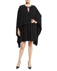 Co+Tie+Neck+Long+Sleeve+Cape+Dress+Black+ +Clothing