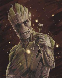 J'ai Am Groot - Print - gardiens de la galaxie digital art peinture gotg