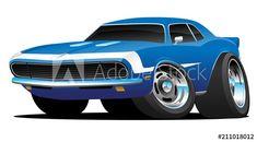 Classic Sixties Style American Muscle Car Hot Rod Cartoon Vector Illustration