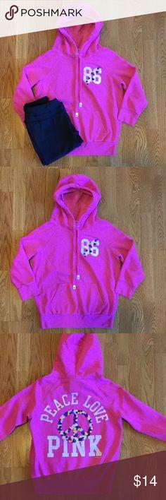 PINK Hoodie Pink hoodie with 3/4 sleeves victorias secret pink Tops Sweatshirts & Hoodies