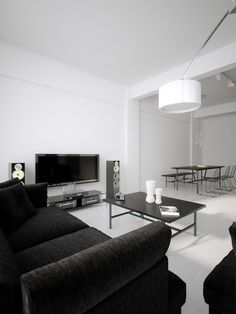 Luxury Minimalist Loft Designs in Black and White - Image 02 : Black White Palatial Living Room Diner