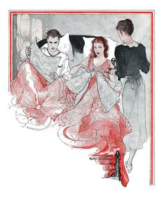 Illustration by Earle Kirkbride for the story Pattern Discontinued. Written by Helen Grace Carlisle. From Good Housekeeping magazine, May 1934.