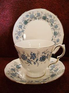"Colclough Braganza bone China (number 8454) -- This blue & green floral (periwinkle) pattern was used in the sitcom, ""Keeping Up Appearances"" and is what Hyacinth Bucket always referred to as her ""Royal Doulton with the hand-painted periwinkles""."