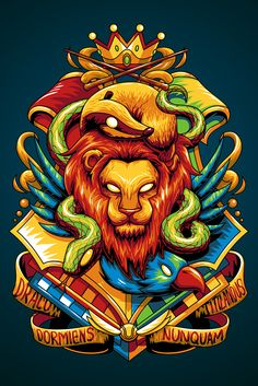 Hogwarts Houses by Angga Tantama, via Behance