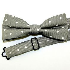 Grey Polka Dot Mens Bow Tie Pre Tied Gray Dress Fashion w/Manufacturers Flaw