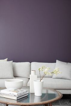 Prince is a rich, dark purple trim paint color that conjures up a touch of drama. Purple Wall Paint, Purple Paint Colors, Trim Paint Color, Modern Paint Colors, Best Paint Colors, Room Paint Colors, Bedroom Colors, Purple Accent Walls, Purple Kitchen Walls