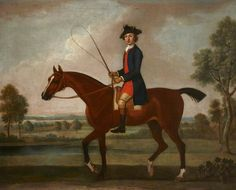 Equestrian Portrait of Sir Ralph Gore (1725–1802?), 6th Bt, Later 1st Earl of Rosse, on His Bay Hunter in a Verdant Landscape  by Thomas Spencer