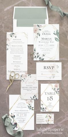 Like the design here - but would like more vibrant colors Green Wedding Invitations, Gold Invitations, Elegant Invitations, Wedding Stationary, Wedding Invitation Templates, Floral Wedding Stationery, Invitation Wording, Invites, Wedding Signs