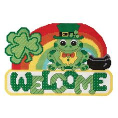 St Patrick's Welcome Wall Hanging Plastic Canvas Kit - Herrschners #frog #shamrock #rainbow