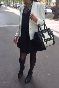 Zara skirt Céline bag  Bershka necklace  Look chic in Paris !