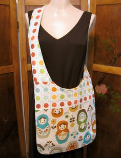 Matyoshka Doll Paint-by-Number Crossbody Mail Sack Bag by whimsyvintage on Etsy $58.00