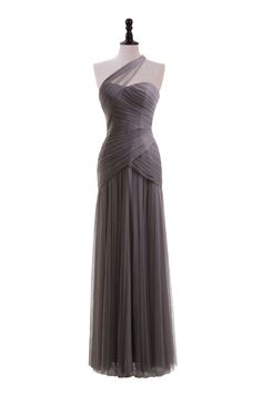 One Shoulder Tulle Gown.. Shorter maybe? If it's a spring/summer wedding