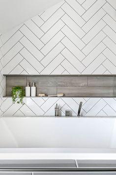 Wood Tile Shower, Bath Tiles, Bathroom Niche, Shower Niche, Chevron Bathroom, Nautical Bathrooms, Bathtub Tile Surround, White Herringbone Tile, Simple Bathroom Designs