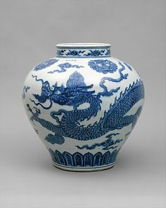 Jar with Dragon, Ming dynasty (1368–1644), Xuande mark and period (1426–35) early 15th century. Porcelain painted with cobalt blue under transparent glaze (Jingdezhen ware) H. 19 in; Diam. 19 in. (48.3 cm)