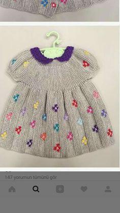 """Kids Dress 4 row: All t Baby Dress Patterns, Baby Knitting Patterns, Knitting Designs, Knitting Projects, Crochet Patterns, Knit Baby Dress, Knitted Baby Clothes, Baby Cardigan, Baby Kids Clothes"