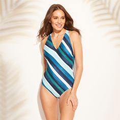 2f53e180f2 Women's Strappy Back One Piece Swimsuit - Kona Sol Blue Stripe