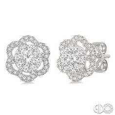 5/8 Ctw Round Cut Diamond Lovebright Earrings in 14K White Gold