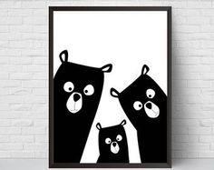 Familie Kindergarten Print Bear Kunst Poster schwarz und