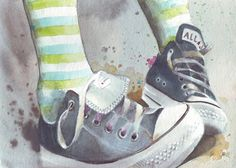 All Stars painted in watercolor #Chucks #Converse