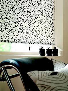 Our Chatsworth black & white leaf print roller blind looks great & is also available in Vertical & Panel Blinds so you can co-ordinate your blinds for a tailored look throughout your interior.....    Call us on 01637 871862