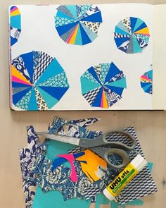 Lisa Congdon's sketchbook -- experiments in blue themed page -- collage
