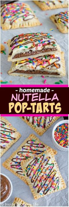 Filling pie crust with Nutella and adding sprinkles makes these look just like store bought treats. Awesome breakfast recipe! Ingredients 1 box pie crusts 1 cup Nutella 4 ounces white chocolate bakers chocolate 2 ounces chocolate bakers chocolate sprinkles