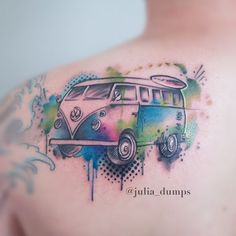 10 Cool Volkswagen Kombi Tattoos For Your Inner Hippie Vw Tattoo, Car Tattoos, Badass Tattoos, Time Tattoos, Cover Up Tattoos, Body Art Tattoos, Tattoos For Guys, Tatoos, Campervan Tattoo