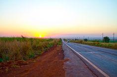 Mato Grosso, Tangara da Serra, Brazil (Brasil).  Road sunset.