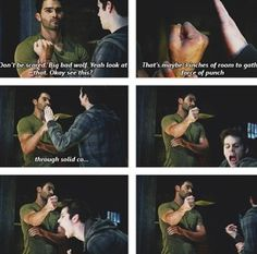 Tyler Hoechlin (Derek) & Dylan O'Brien (Stiles) - Teen Wolf Derek punching Stiles in the hand!! Funniest thing ever