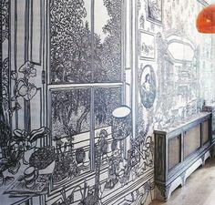 Decoración de paredes con dibujos   Blanco y negro con estilo