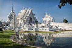 """Wat Rong Khun, better known as """"the White Temple"""" is one of the most recognizable temples in Thailand."""