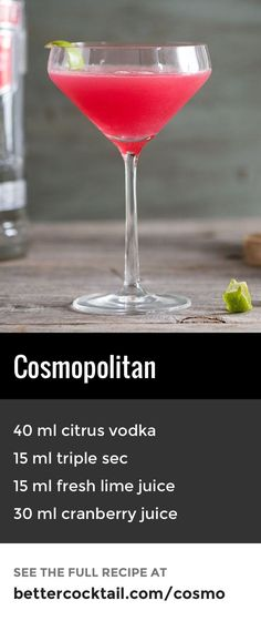Another modern classic is the cosmopolitan which features citrus vodka (also known as vodka citron) and cranberry juice, along with a touch of triple sec (the official recipe calls for Cointreau, but any quality triple sec will do the job!) This cocktail should be served in a cocktail glass and can be garnished with a slice of lime to decorate. {wine glass writer}