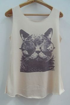 Cat Meow Glasses Shirt Cat Shirt Cat Tshirt Animal Shirt White Shirt Women Shirt Tank Top Women T-Shirt Tunic Top Vest Sleeveless Size S,M,L...