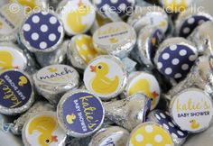 Designer, printable RUBBER DUCK Collection candy stickers - perfect to create super, adorable favors for your baby shower!    · · · · · · · · ·