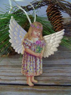 Bradford Editions Heavens Little Angels Natures Beauty  Dona Gelsinger Ornament Porcelain ANGEL with quilted satin wings Adopt an Angel - great