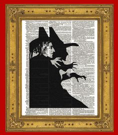 Margaret Hamilton as the Wicked Witch of the West from the 1939 classic movie The Wizard of Oz. And, how wonderfully wicked she was! Now you can have her to hang on your wall with this fabulous altered dictionary book page.    YOU WILL RECEIVE A PRINT ONLY. NO FRAME OR MAT IS INCLUDED.    This li...