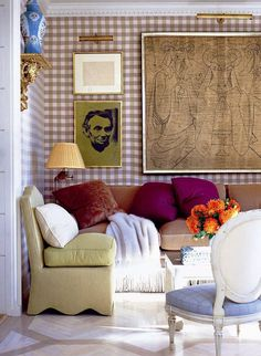 bold art with traditional furniture