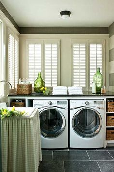 Black Pearl Granite - Cottage - laundry room - Sherwin Williams Accessible Beige - Southern Living