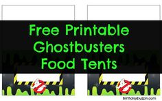Use these free printable Ghostbusters food tents to make tents displaying the names of the foods you will be providing for your guests at your party. Baby Birthday, Birthday Ideas, Birthday Parties, Party Food Names, Ghostbusters Birthday Party, Ghost Busters, Food Tent, Party Printables, Party Time