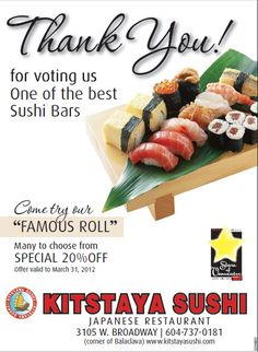 Raw fish make you nauseous? Don't worry, as at Kitstaya Sushi, you will be served with plenty of vegetarian options and cooked fish too. Kitstaya Sushi will offer you with the best menu. http://www.kitstayasushi.com/menu_2.html