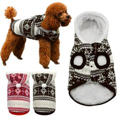 Winter Warm Pet Dog Coat Clothes Snowflake Print Christmas Hoodie Sweater For Small Medium Dogs(China) Warm Dog Coats, Small Dog Coats, Warm Coat, Christmas Jacket, Christmas Sweaters, Christmas Hoodie, Chihuahua Costumes, Christmas Puppy, Pet Paws
