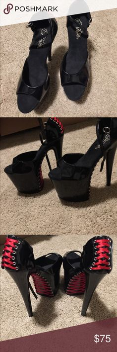 Platform red and black SEXY red and black lace up platforms. Great for props, photo shoots or dress up Shoes Platforms