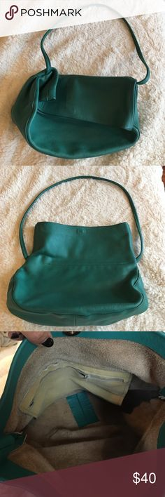 Vintage 80s foldover shoulder bag Turquoise green leather 80s bag, has suede interior and one inside pocket with zipper. Has a gold magnetic clasp at top and it's perfect for everyday use. Bags Shoulder Bags