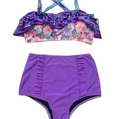 Pink Violet Flora Top and Fringe High waisted Shorts Bottom Bikini set Two piece…