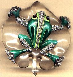 TRIFARI FROGBrooch on Lily Pad. a large Lucite leaf with an enamel frog stretched out on top.