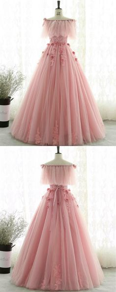 Unique design pink tulle off shoulder evening gown