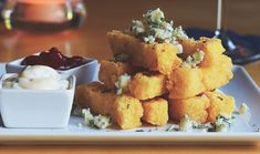 Blue Cheese Polenta Fries With Curry Ketchup And Garlic Aioli