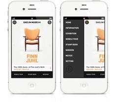 what guestures should close the menu? Tab page-content, swipe page content, click menu button again? Daelim Museum Mobile App by Hyungtak Jun, via Behance